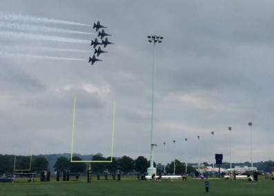 Flying over the Navy goalposts