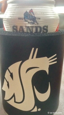 Bahamian Sands beer in a Cougar coozie