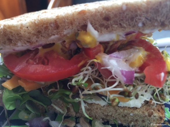 Delicious sandwich with boat-grown sprouts